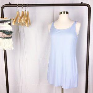 Eileen Fisher Long Scoop Neck Silk Cami In Blue